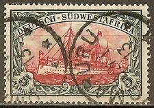 1906 German South West Africa 5 Mark Yacht used, Michel # 32 Aa -OMARURU- € 370