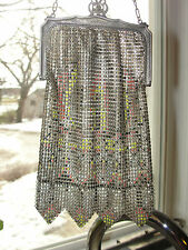 Vintage entirely mesh purse, old, designed, delicate chain wrist style, 1920's