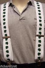 "Suspenders 2""x48"" FULLY Elastic Irish Shamrocks green on white NEW"