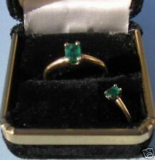 14K Solid Gold Ring w/ 1/2c Colombian Emerald Solitare Beautiful New Ring sz7