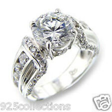 Cz Birthstone Lady Engagement Ring Size 5-10 10 mm 6.4 Ct 925 Silver April Clear