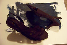 womens naturalizer prissy brown fabric strappy slingback heels shoes sz 8 1/2