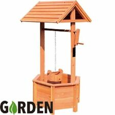 Brand New Garden Wooden Wishing Well Planter Outdoor Ornament Rotating Handle