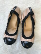 J Crew Mila Cap Toe Ballet Flat Blush Pink Black Shoes Size 8
