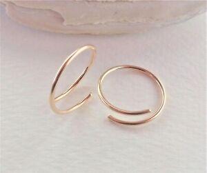 14K Solid Gold Twisted Minimal Hoop Earrings