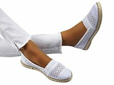 WOMENS-LADIES SLIP ON LACE FLAT ESPADRILLES NEW SUMMER HIT!!- ONLY SIZE 3 UK