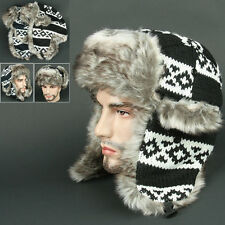 Ear Flap FFR BLACK Chullo Skull Beanie Russian Hat Cap Ear Warmer Outdoor