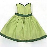"Vintage Doll Clothes 18"" Miss Revlon Dress Green Pinafore 1960's"