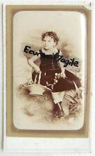 CDV PHOTO A de PEROL à VINCENNES petite fille avec panier fleuri bottines G834
