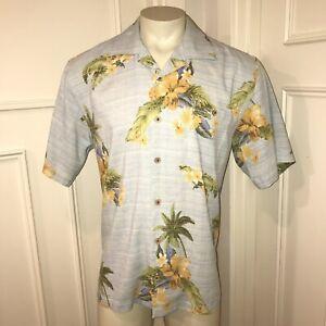 Mens Large TOMMY BAHAMA Shirt Floral Print BLUE Hawaiian Camp 100% SILK Button L
