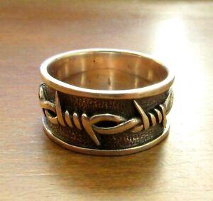 Handcrafted Solid 925 Sterling Silver Men's Barbed Wire Biker Rocker Punk Ring