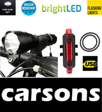 front powerful C8 & rear 5 led rechargeable lights set kit - flash bike light