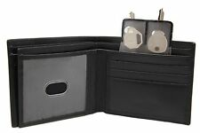 JTC Calf Leather Black Bi-fold Wallet 3 Separate Bill fold Key Holder 53-32