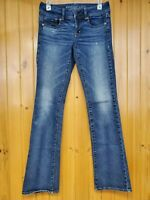 American Eagle Women's Distressed Kick Boot Stretch Blue Jeans Size 4 Long