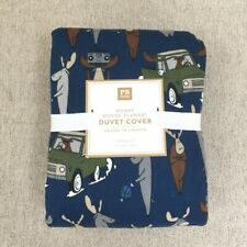 NEW Pottery Barn Teen Merry Moose Flannel Duvet Cover only queen blue