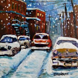 MONTREAL WINTER SNOW STORM SCENEWITH VINTAGE CARS  6X6 PAINTING GRACE VENDITTI