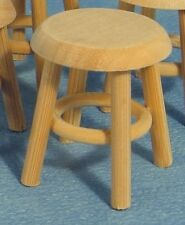 Bare Wood Stool, Dolls House Miniature Furniture Accessory Child's Stool