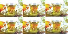 12 X Designer Glass Tea Cups Saucers Set Glass Tea Coffee Cup Mugs 100ml