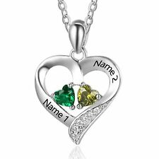 Personalized 2 Names Necklace 2 Heart Birthstone Couple Pendant Necklace