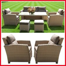 NEW! Wicker 6 Piece Outdoor Furniture Set Table Lounge Setting Chairs Armchairs