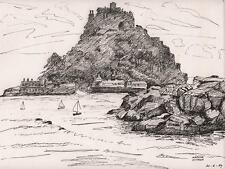 ST MICHAEL'S MOUNT CORNWALL Pen & Ink Drawing ARTHUR MITSON 1987