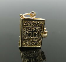 Vintage Hail Merry Bible 14K Yellow Gold Charm Pendant