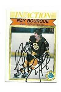 HOF RAY BOURQUE 1982-83 O-PEE-CHEE BOSTON BRUINS IN ACTION AUTOGRAPH CARD
