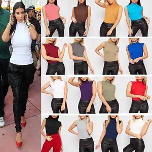 New Womens Polo Turtle High Neck T Shirt Ladies Bodycon Vest Body Sleeveless Top