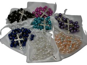 Rosary Beads Pearl Rosary Necklace Catholic Prayer Bead Gift Bag Christian UK