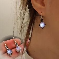 925 Silver Moonstone Gemstone Dangle Drop Earrings Women Engagement Jewelry Gift