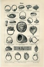 1895 OLD JEWELRY RINGS Antique Engraving Print