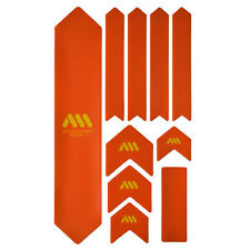 All Mountain Style HONEYCOMB MTB Frame Guard Protection Stickers ORANGE/YEL XL