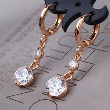 HCUEH Diamond Sapphire Crystal Dangle Drop Gold Filled Women Lady Hoop Earrings