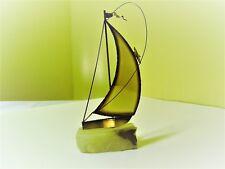 "Vintage 10"" Sail Boat, Brass/Copper Art Sculpture On Onyx Base & Signed Demott"