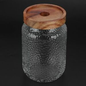 Glass Storage Container Jar With Airtight Wooden Lid For Coffee Bean Snacks Nuts