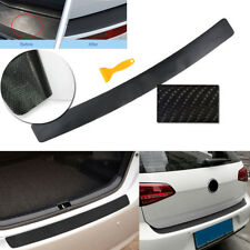 4D Black Carbon Fiber Vinyl Car Rear Trunk Cover Sill Plate Scratch Protector