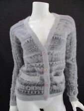 WOMENS STUSSY GREY CARDIGAN SWEATER BUTTON DOWN XS XSMALL STRIPED BLACK GRAY