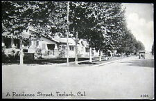 TURLOCK CA ~ 1920's A RESIDENCE STREET ~ Houses ~ Autos on Road