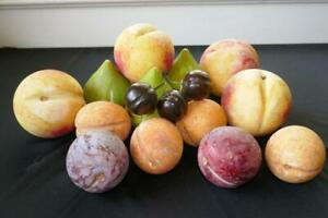 15 pc EARLY ITALIAN ALABASTER STONE FRUIT FIGS PEACHES PLUMS APRICOTS CHERRIES