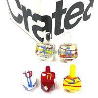 Crate & Barrel Glass Dreidel Lot of 5 Hanukah Collectibles 2001