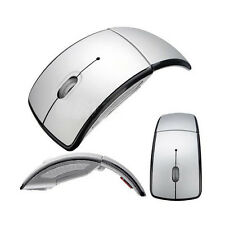 Silver Foldable Folding Arc Wireless Optical Mouse+USB 2.4 Snap-in Receiver Gift
