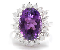 7.90 Carats Natural Amethyst and Diamond 14K Solid White Gold Ring