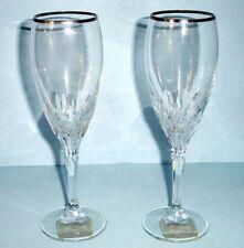 Gorham Crystal Diamond Platinum 2 Piece Champagne Flute Pair $80 New