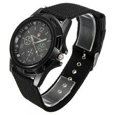 SALE Swiss Flag Gemius FABRIC Sport Quartz  ARMY Black Wrist Watch GLOW HANDS ff