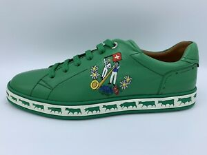 $600 Bally Animals Emeral Leather Sneakers size US 13 Made in Switzerland