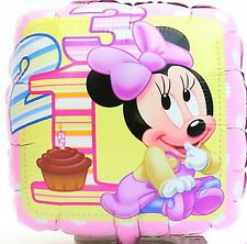 "18"" square Disney baby Minnie Mouse Foil Balloon 45cm girl birthday 1st 2nd 3rd"