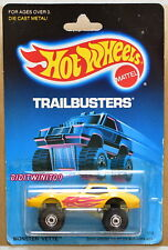 HOT WHEELS 1988 TRAILBUSTERS MONSTER VETTE YELLOW W/ CONSTRUCTION HUBS