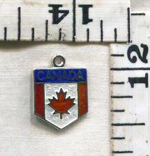 VINTAGE STERLING BRACELET CHARM~ENAMELED CANADA TRAVEL SHIELD~JUST $14.99!!!!