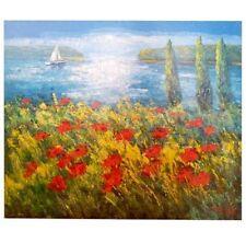Orig. Gemälde von Madjid Rahnavardkar, Mohn am See, 90x80 cm