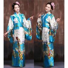 Vintage Japanese Kimono Yukata Haori Costume Geisha Dress Obi Retro for women W